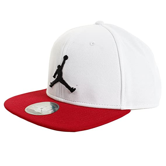 8dd299502fe Jordan Cap - Jumpman Snapback White red Black Size  Adjustable   Amazon.co.uk  Clothing