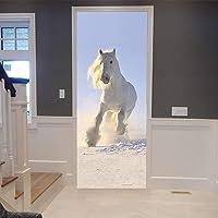 Dierwit paard deurposter 3D binnendeur zelfklevend deurbehang deurfolie decoratie deursticker deurschildering deurbehang…