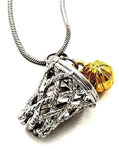 Amazon dianal boutique basketball charm pendant necklace silver dianal boutique basketball charm pendant necklace silver and gold tone 34quot gift boxed mozeypictures Gallery