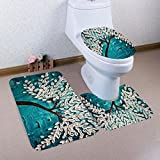 YJYDADA 3PCS Print Tree Bathroom Non-Slip Pedestal Rug + Lid Toilet Cover + Bath Mat Set (E)