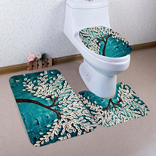 YJYDADA 3PCS Print Tree Bathroom Non-Slip Pedestal Rug + Lid Toilet Cover + Bath Mat Set (E) by YJYDADA