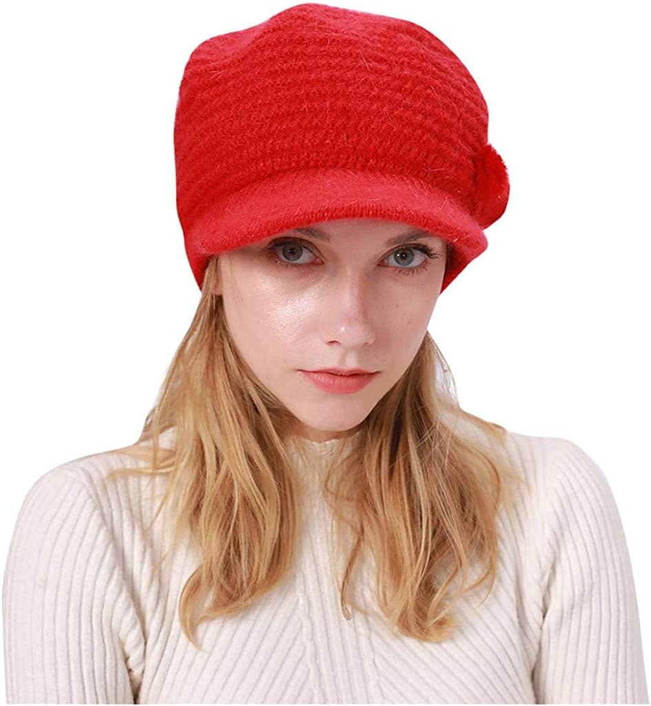 Women Beret Hat Retro Solid...