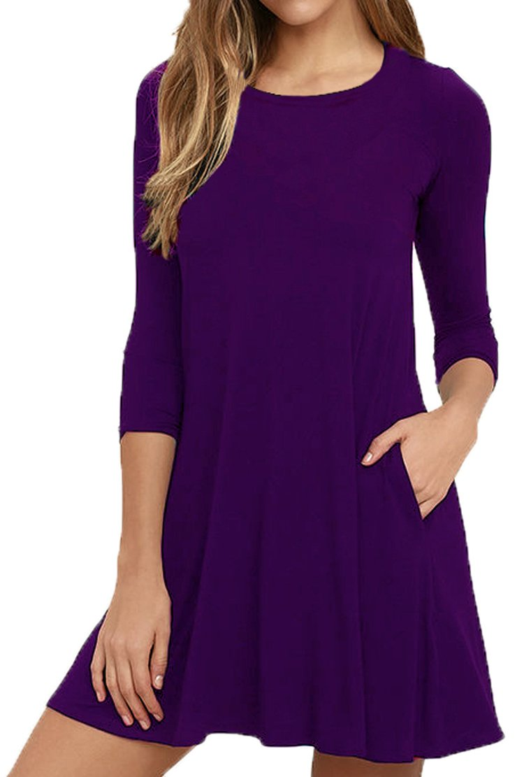 Viishow Women's 3/4 Sleeve Loose Swing Tank Sundress Purple M