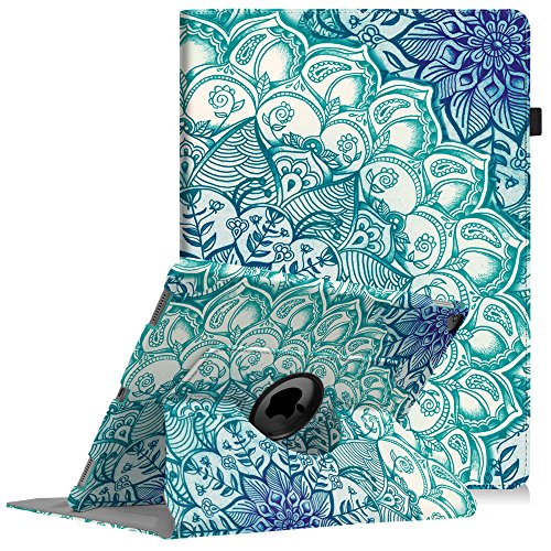 Fintie iPad Pro 12.9 Case - 360 Degree Rotating Stand Case with Smart Protective Cover Auto Sleep / Wake Feature for Apple Pro 12.9 (1st Gen 2015) / iPad Pro 12.9 (2nd Gen 2017), Emerald Illusions