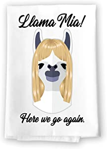 Honey Dew Gifts Funny Kitchen Towels, Llama Mia Home Decor for Pet Lovers, Farm Animal Hanging Decorative Hand, Bathroom, and Dish Towel