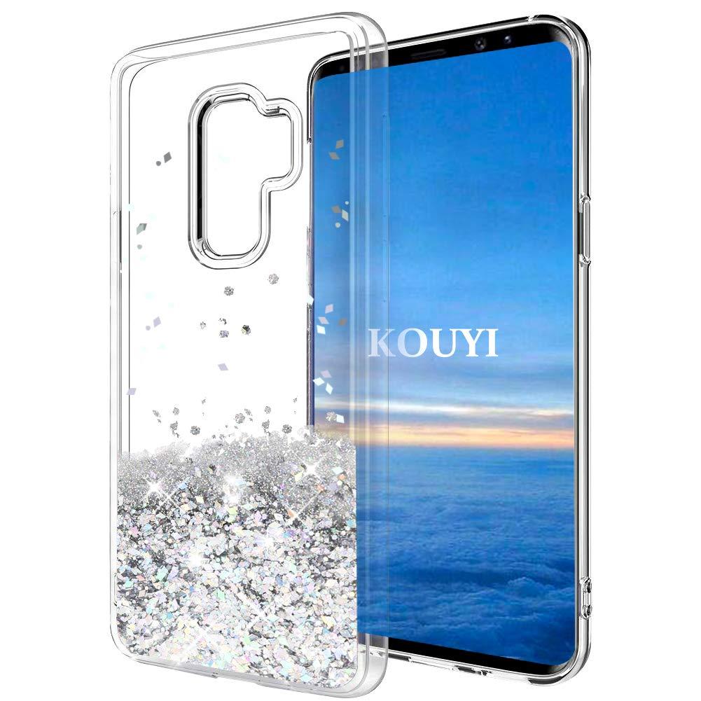 Coque Galaxy S9, KOUYI Luxe Flottant Liquide É tui Protecteur TPU Bumper Cover Brillant bling Mode 3D Cré atif Sparkly Cristal Coques Housse Telephone é tui pour Samsung Galaxy S9 (Bleu Argenté ) KOUYI-MHXK-IX-0919063