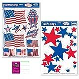 FAKKOS Design Patriotic Window Film Decorations - 2 Sheets - American Flag, Stars