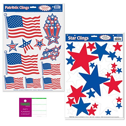 FAKKOS Design Patriotic Window Film Decorations - 2 Sheets - American Flag, Stars by FAKKOS Design