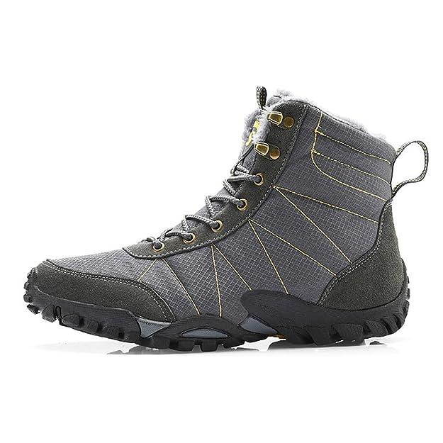 dc7054923f094 Minetom Homme Femme Chaussures Trekking Randonnée Bottes De Neige Hiver  Imperméable De Plein Air Boots Unisexe Chaud Peluche Fourrées Montagne  Sneakers: ...