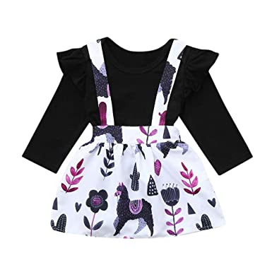 e412c4a18f9 Wenjuan Toddler Baby Girl Dress Solid Ruffle Rompers Long Sleeve Shirt  Floral Strap Skirt Overall Outfits