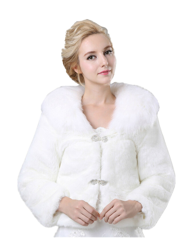 XSWPL Women's Winter Faux Fur Wedding Jacket for Bride Wrap Shawl Bolero Jacket