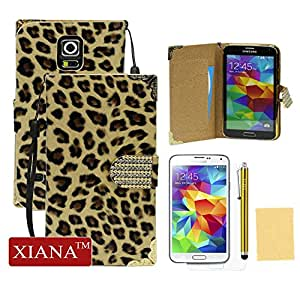 XIANA Smooth Surface with Leopard Print Flip Magnet Leather Case Cover Protector with Credit Card Slots and A Stylus Pen For Samsung Galaxy Galaxy S5 i9600(Yellow)