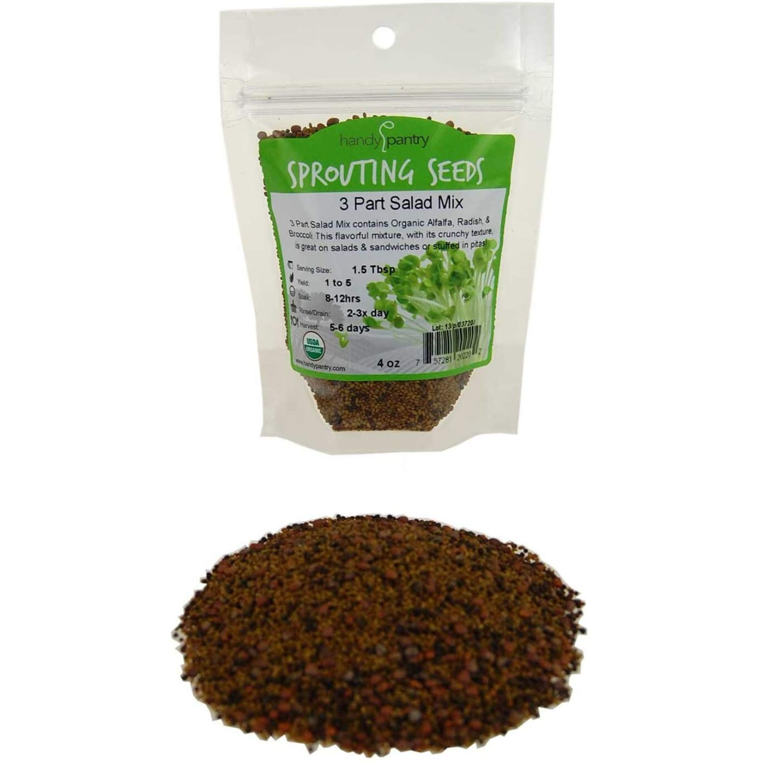 3 Part Salad Sprout Seed Mix - 4 Oz. - Handy Pantry Brand - Organic Sprouting Seeds: Radish, Broccoli & Alfalfa: Cooking, Food Storage or Delicious Salad Sprouts