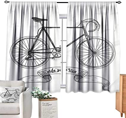 Unprecall Bicycle Curtains Ride Your Bike Lettering With Nostalgic Mountain Bike Hand Drawn Sketchycharcoal Grey White Curtain Holdback W55 X L39 Amazon Co Uk Kitchen Home