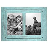 Americanflat 5x7 Turquoise Blue Collage Distressed Wood Frame - Made to Display Two 5x7 Photos - Ready to Hang - Ready to Stand - Built-in Easel
