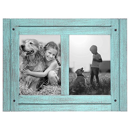 (Americanflat 5x7 Turquoise Blue Collage Distressed Wood Frame - Made to Display 2 5x7 Photos - Ready to Hang - Ready to Stand - Built-in Easel)