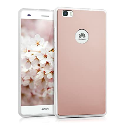 kwmobile Hardcase Protective Cover for Huawei P8 Lite (2015) with Aluminium backcover and TPU Silicone Frame Bumper - case Cover in Rose Gold