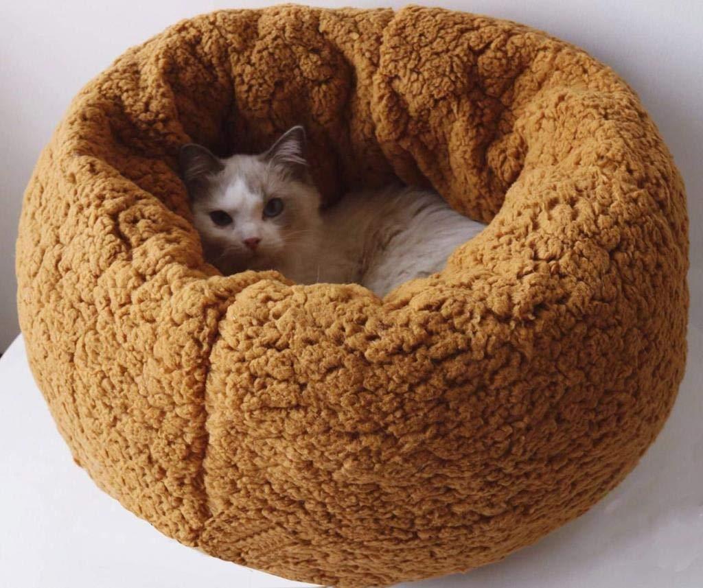 Camel 434325cm Camel 434325cm Dog Cave Bed Pet Cat Bed for Cats and Small Dogs Soft Comfortable Pet Bed Luxury Plush Warm for Small Animals (Coffee, 65x65x28cm) (color   Camel, Size   43  43  25cm)