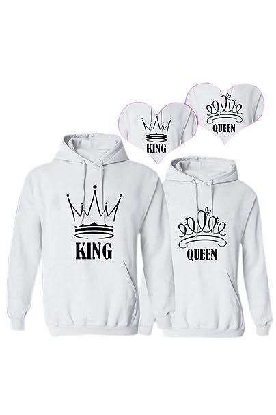 Drawcord Donne Corona Queen Due Col Re King Regina Felpa Con wqa7A7