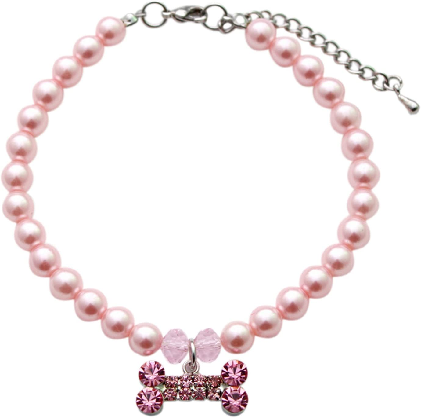 PetFavorites Designer Fancy Pearls Crystal Pet Cat Dog Necklace Jewelry with Bling Rhinestones Big Bone Charm for Pets Cats Small Dogs Female Puppy Chihuahua Yorkies Girl Costume Outfits Adjustable