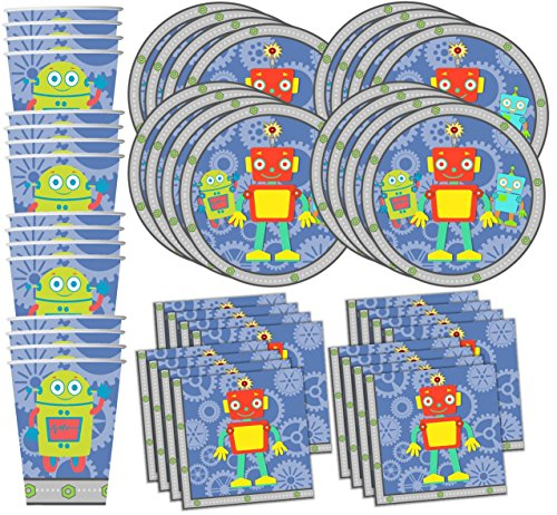 Robot Party Supplies (Robot Birthday Party Supplies Set Plates Napkins Cups Tableware Kit for 16 by Birthday Galore)