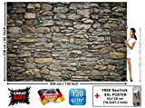 Wall Mural - Wallpaper Grey Stonewall - Picture Decoration Wall Cladding Stone Rock Optic Tapestry Stone Pattern 1000 Stones Wallpaper Stone Optic Wallpaper (132.3 x 93.7 Inch / 336 x 238 cm)