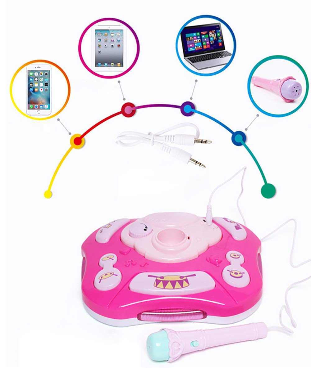 GHDE& Kids Karaoke Machine Microphone Toy with Adjustable Stand & Flashing Lights/USB Charging/Best Gift for Your Kids on Birthday (Pink) by GHDE& (Image #5)