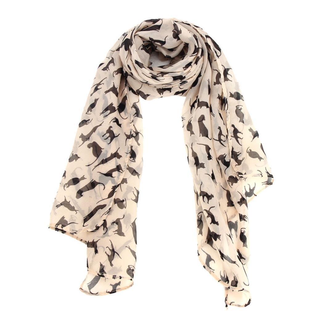 Clearance Sale! TiTCool Women Black Cat Print Chiffon Wrap Shawl Scarves 59.1X15.8)