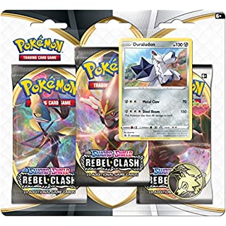 Pokemon TCG: Sword & Shield Rebel Clash Blister Pack with 3 Booster Packs and Featuring Duraludon