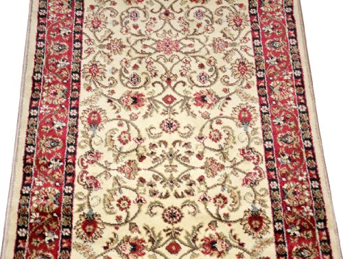 - Dean Classic Keshan Antique Beige Custom Length Carpet Rug Runner - Purchase by the Linear Foot
