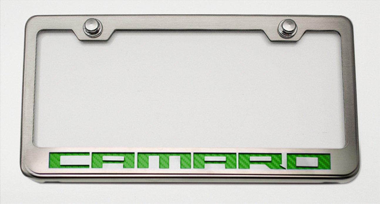 Chrome//Brushed Camaro Style Cf White American Car Craft 102043-WHT Tag Frame