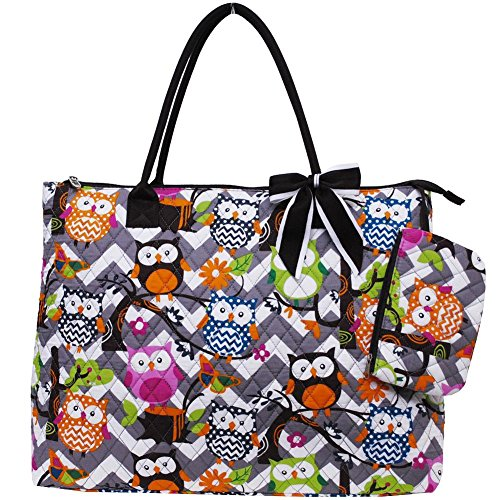 Quilted Cotton Owl Chevron Extra Large Tote Bag (Grey/Brown) -