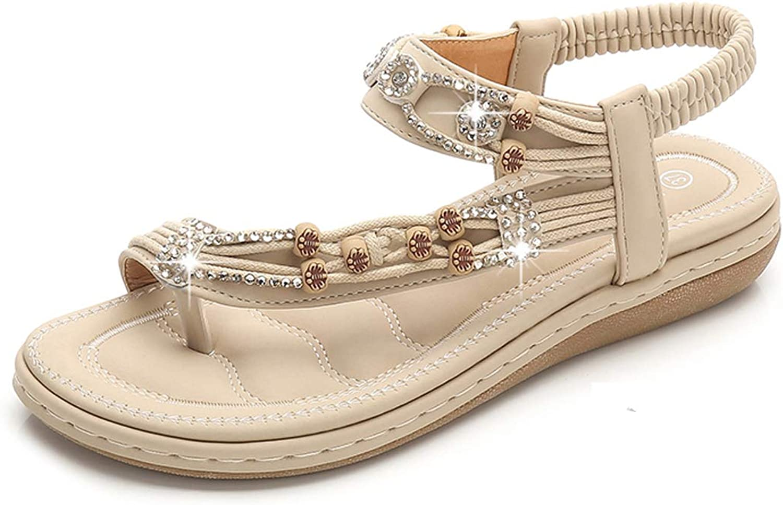 Chickwin Sandalias Mujer Planas Verano Playa, Zapatos de Bohemias Elegant Cómodos Moda Fiesta Cuero Slingback Peep Toe Talla Grandes