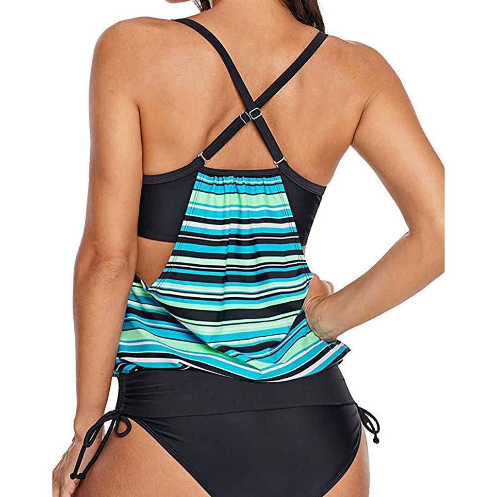Winsummer Bathing Suit Women 2 Piece Tribal Printed Racerback Tankini Swimsuits with Boyshorts Swimwear Green by Winsummer (Image #2)