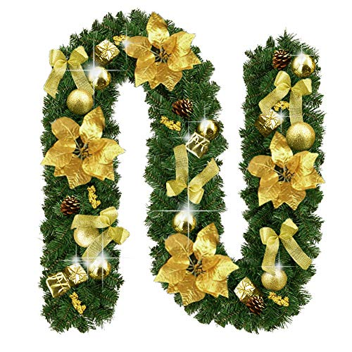 Christmas Garland Decorations 9 Feet by 10 Inch Fireplaces Stairs Garlands Xmas Non-Lit Soft Green Holiday Decor for Outdoor or Indoor Use - Home Garden Thanksgiving Wedding Party Decoration(Gold) (For Garlands Christmas Fireplace)