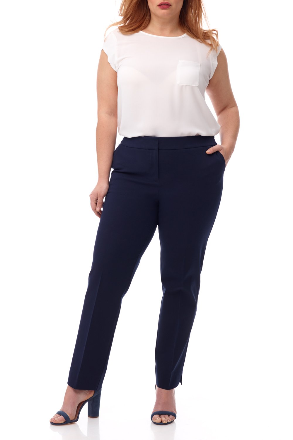 Rekucci Curvy Woman Plus Size Easy Chic Zip Front Pant In Ultimate 360 Degree Stretch Cotton (16W,Navy)