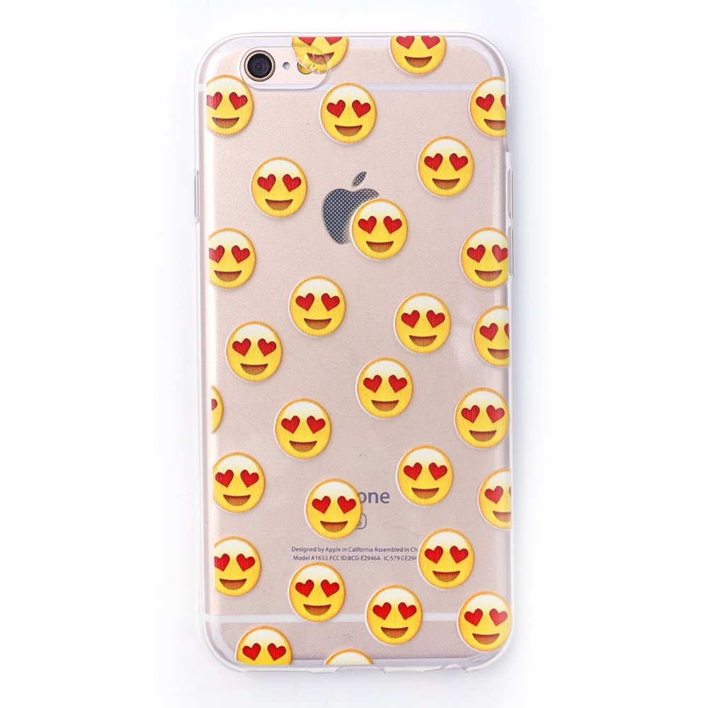 Iprotect tpu schutzhülle apple iphone 6 6s softcase hülle herzaugen emojis transparent amazon de elektronik