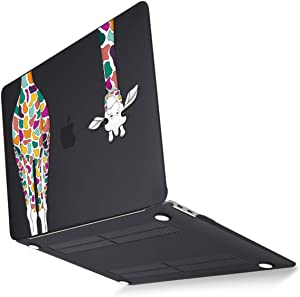 Mektron 2020 2019 2018 MacBook Air 13 inch Case A2179 A1932 w/Retina Display & Touch ID, Matte Black Colorful Giraffe Soft Touch Plastic Laptop Cover Shell 4 in 1