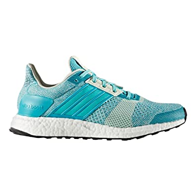 Adidas Ultra Boost ST Running Shoe - Womens Energy Blue Easy Green Linen  Green 7249ee0915
