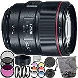 Canon EF 85mm f/1.4L IS USM Lens 9PC Accessory Bundle – Includes Manufacturer Accessories + 3PC Filter Kit (UV + CPL + FLD) + MORE