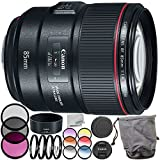 Canon EF 85mm f/1.4L is USM Lens 9PC Accessory Bundle – Includes Manufacturer Accessories + 3PC Filter Kit (UV + CPL + FLD) + More