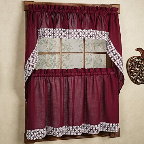 bed bath n more Burgundy Country Style Kitchen Curtains with White Daisy Lace Accent 24 x 60