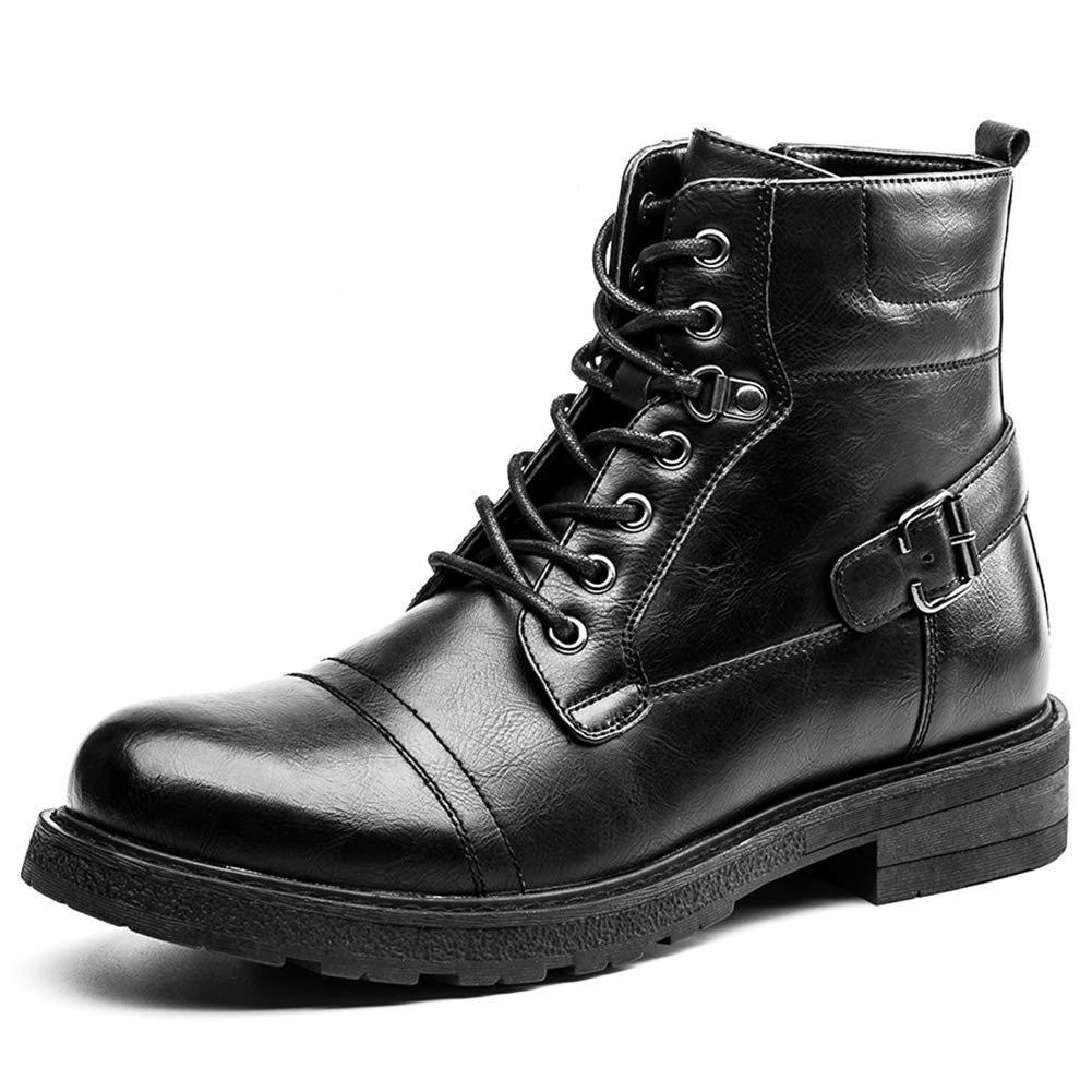 GOLAIMAN Martin Boots Ankle Men Black Pu Leather Motorcycle Waterproof Shoes Winter Casual Size 13 G1808-Black-13 by GOLAIMAN
