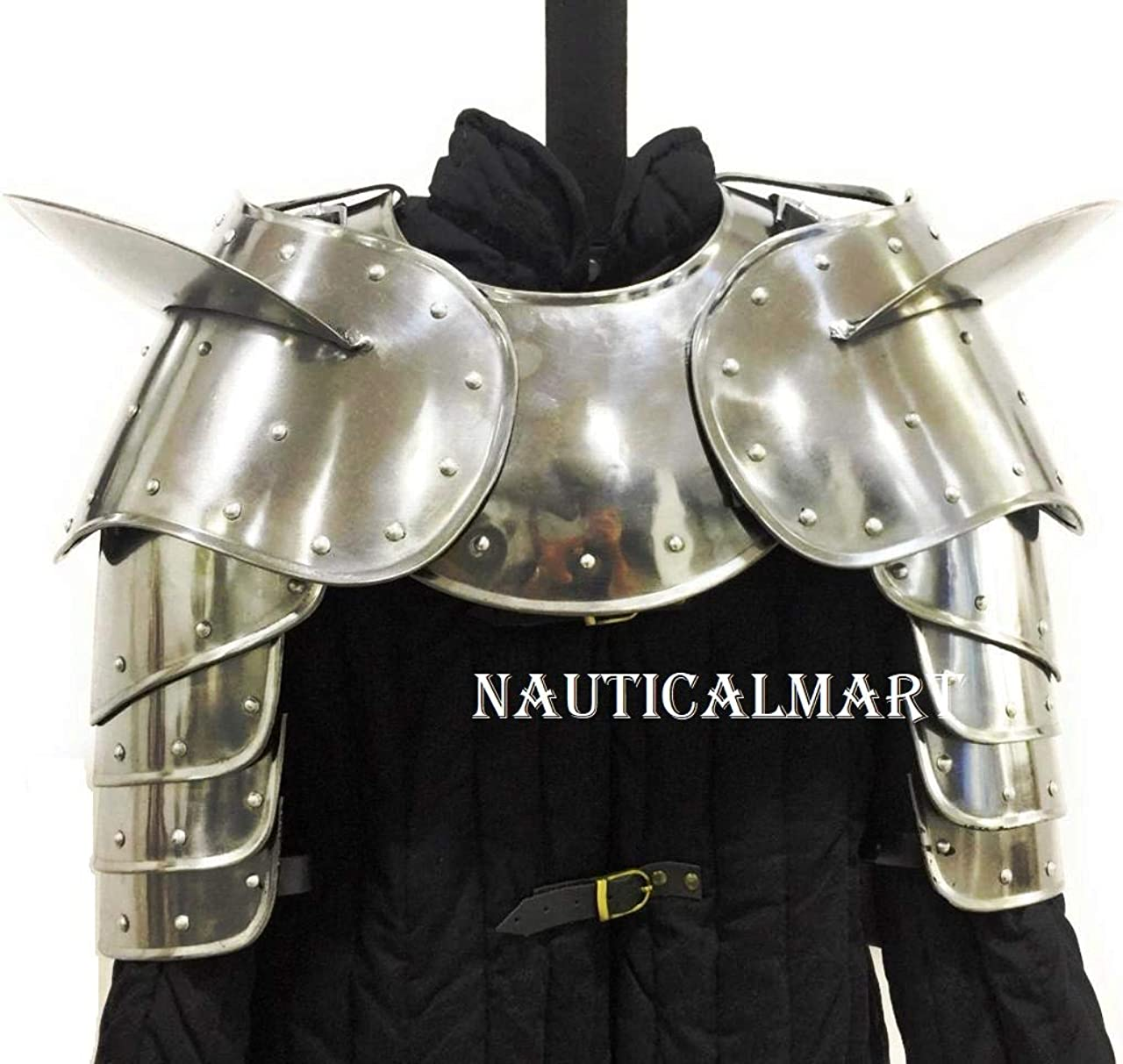 Image of Medieval Gothic Fantasy Shiny Metal Gorget+Shoulder Guard Warrior Pauldron Armor Standard Silver Body Armor