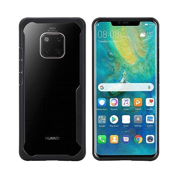 pretty nice 6a9f9 f47a6 Huawei Mate 20 Pro Case, Premium PC+TPU Ultra Thin Slim Hybrid Heavy Duty  Transparent Clear Crystal Bumper Shockproof Flexible Soft Back Case Cover  ...
