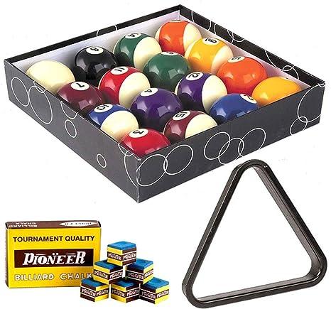 Bolas de billar. Diámetro 57,2 mm. 15 Bolas numeradas y 1 blanca, con triángulo para romper y tiza para taco: Amazon.es: Deportes y aire libre