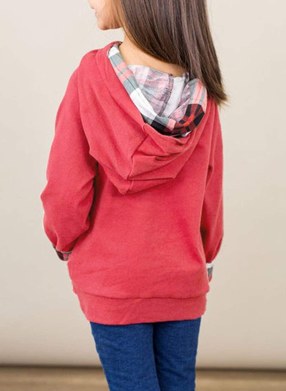 GOSOPIN Girls Button Loose Tunic Hooded Sweatshirt with Pocket
