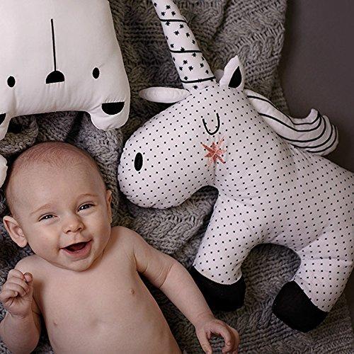Coussin//oreiller Bizzi Growin Little Dreamers licorne noire et blanche unique