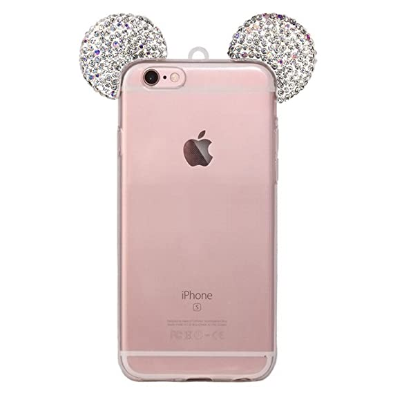 low priced fbf15 a6ec4 iPhone 6S Plus Case, MC Fashion Sparkly 3D Mickey Mouse Bling Bling Crystal  Rhinestone Ears Clear TPU Rubber Case with Removable Strap for iPhone 6S ...