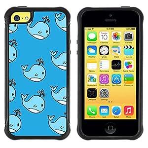 LASTONE PHONE CASE / Suave Silicona Caso Carcasa de Caucho Funda para Apple Iphone 5C / whale cute kids drawing blue children's